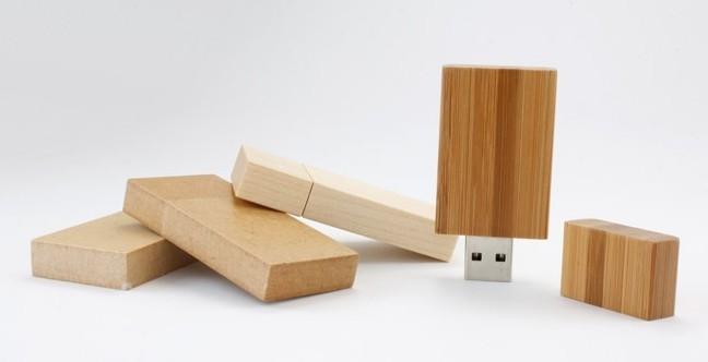 Customized Rectangle 4GB Storage Wood USB Flash Drive USB 2.0 Sticks 11 MB/s