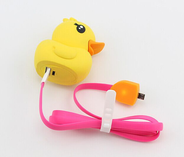 Rubber Ducky Yellow Custom Portable power bank , External Battery 2600mAh for Mobile Phones chager