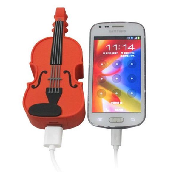 Custom PVC Guitar mobile power bank ,Cartoon Mobile Battery Charger , Portable USB External Charger