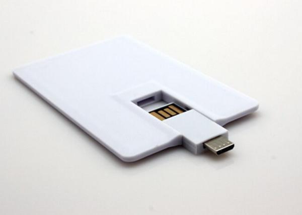 16GB , 32GB White Plastic Credit Card OTG / Mobile Phone USB Flash Drive for Smart Phone
