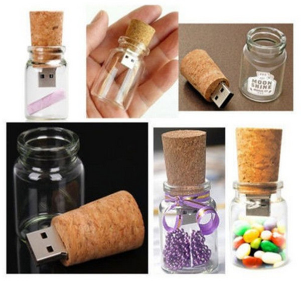 4GB, 8GB  transparent wood glass bottle usb flash drive, Glass Bottle Shaped  Usb memory