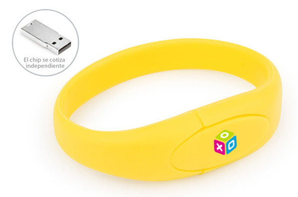 Yellow Wristband Pvc Usb Flash Drive 2-64G Usb 2.0 Stick Usb Flash Memory Drive
