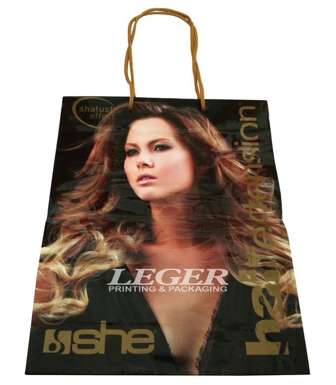 Printed Shopping Bags  With Long Handles For Hair Extension Packaging