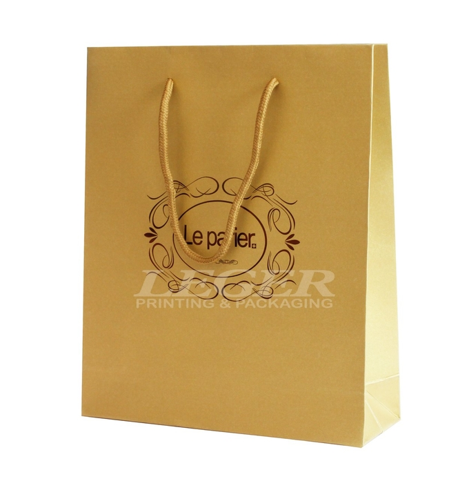 Green Paper Bags With White Cotton Handles , Commercial Promotional Shopping Bags