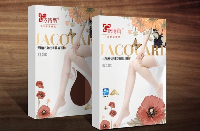 CMYK Printing Custom Paper Packaging for Silk Stockings / Women Tights