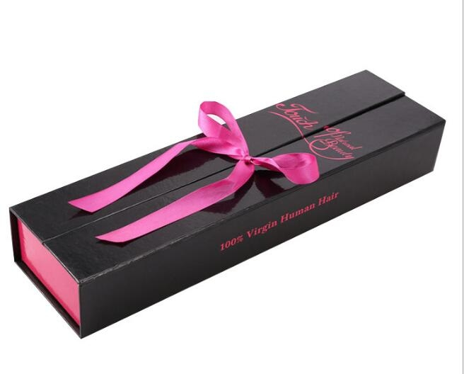 Hair Extensions Packaging Box With Silk Ribbon Closing Top Open