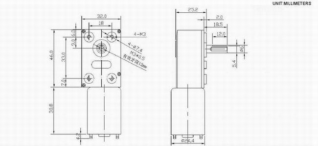 12V DC Worm Gear Motor , Garden Tool Worm Gear Motor 12V High Torque