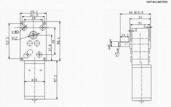 Automobile Clutch DC Worm Gear Motor with 4cm Diamension 12V 24V