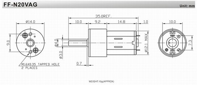 14mm 5V / 6V / 12V Metal Gear-box motor DC Gear Motor Low Noise andHigh precision gear