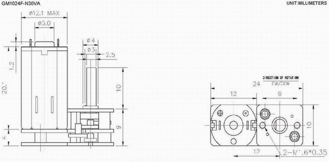 High Precision Gear DC Gear Motor 24mm Diameter Printer / Paper Feeder Use