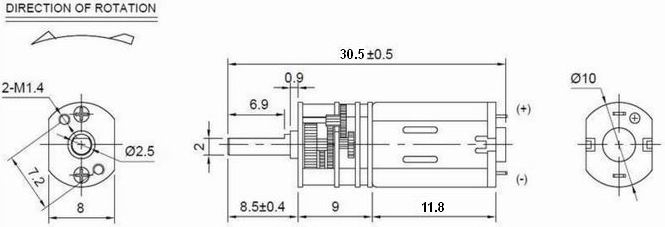 10mm 4.5V / 1.5V Metal Gear DC Gear Motor Low Noise and Large Torque