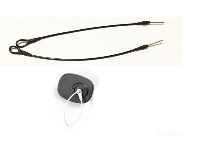 1.8mm Dia Anti Theft Accessories Steel Wire EAS Pin Lanyard With Loop Black