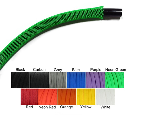Plastic PET Telescopic Expandable Braided Sleeve For Power Electric Wiring Protection