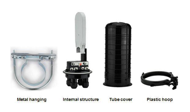 Vertical Type Fiber Optic Joint Closure Black Color For Telecommunication Network