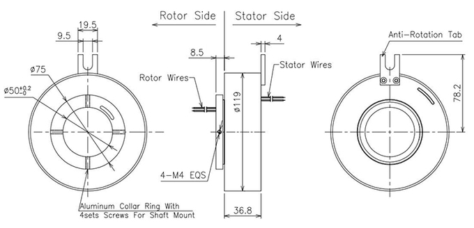 50mm ID Through Hole Slip Ring  Up to 300rpm Rotation For Motion Simulator