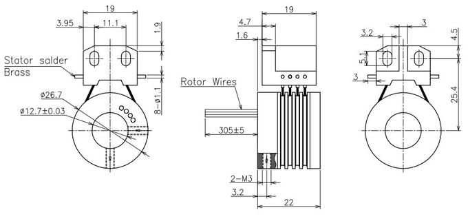 Silver Contact Material  Fiber Brush Slip Ring For Measuring Instrument