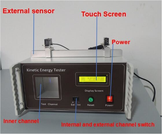 ISO 8124-1 Lab Testing Equipment Kinetic Energy Tester With 40mm - 400mm External Sensor Adjustable