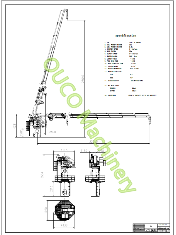High Safety Marine Folding Boom Crane Good Performance For Lifting Cargoes