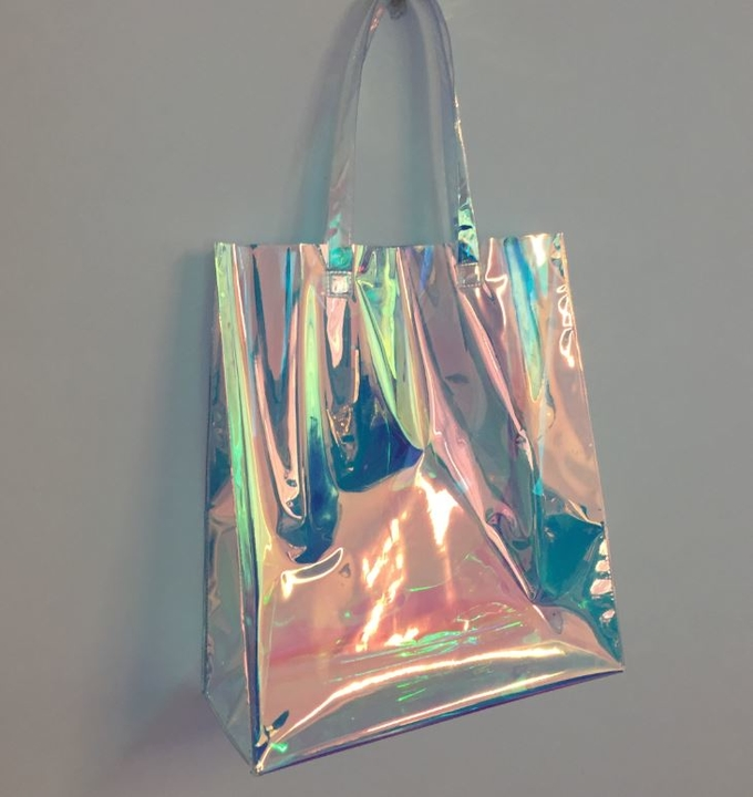 Rainbow Laser Hologram Travel Cosmetic Handbag Rainbow Laser PVC Tote Bag Rainbow Laser Shoulder Bag