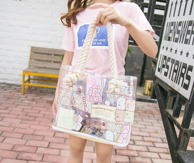 Shoulder PVC Tote Bag , Transparent Tote Bag Handmade By Heat - Sealed Welding
