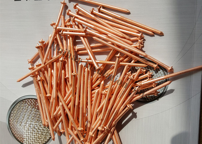 2.7mm x 63.5mm Copper Plated CD Stud Welding Pins With Dome Cap Washer for Ship