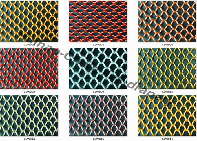 8 x 8mm Alumium Flexible Chain Link Mesh Curtain For Various Color Space Divider