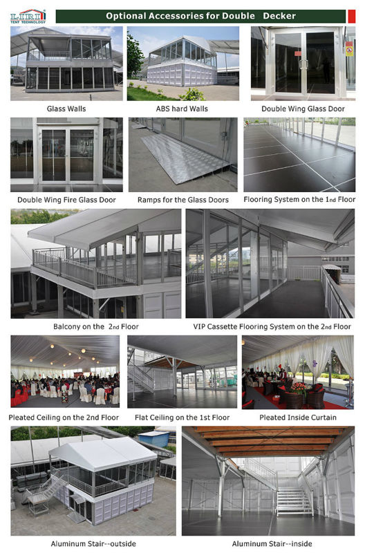 Double Decker Tents Two Floor Tents  with Glass Wall , Two Floor Marquees for Golf Events