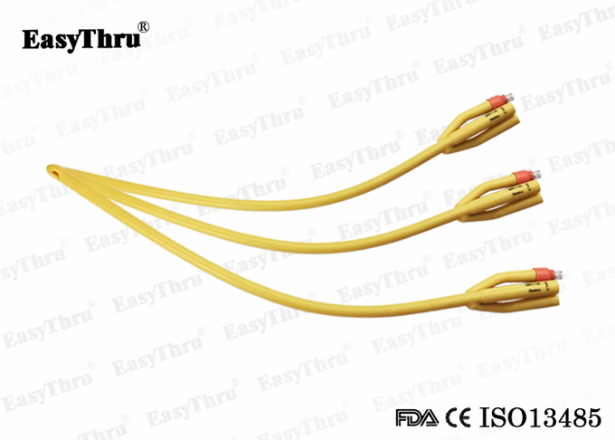 3 Way Disposble Latex Catheter Foley Urethral Catheters Silicone Coating Fr16 to Fr26