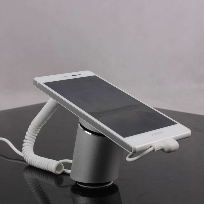COMER alloy display stands for gsm cellphone shops with alarm sensor cable and type c cord