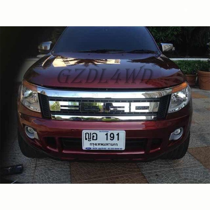 ABS Material Front Grille Vent Grid Trim Set For Ford Ranger T6 XLt PX1 2011-2014