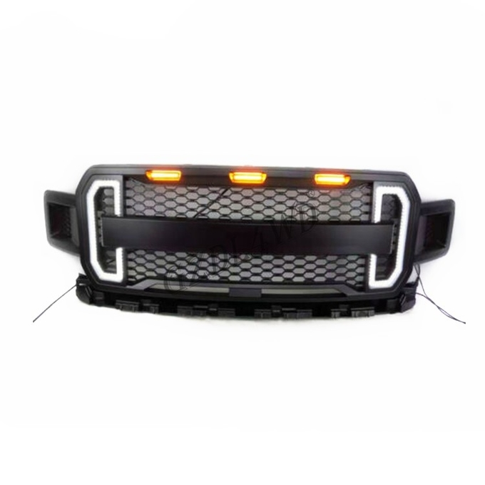 Black Front Grill Mesh With LED Light Bar 15 17 F150 Raptor Accessories